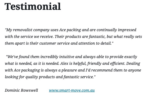 Ace Packaging Testimonial